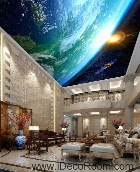 Sun Earth Ourterspace Satellite 00076 Ceiling Wall Mural Wall paper Decal Wall A…