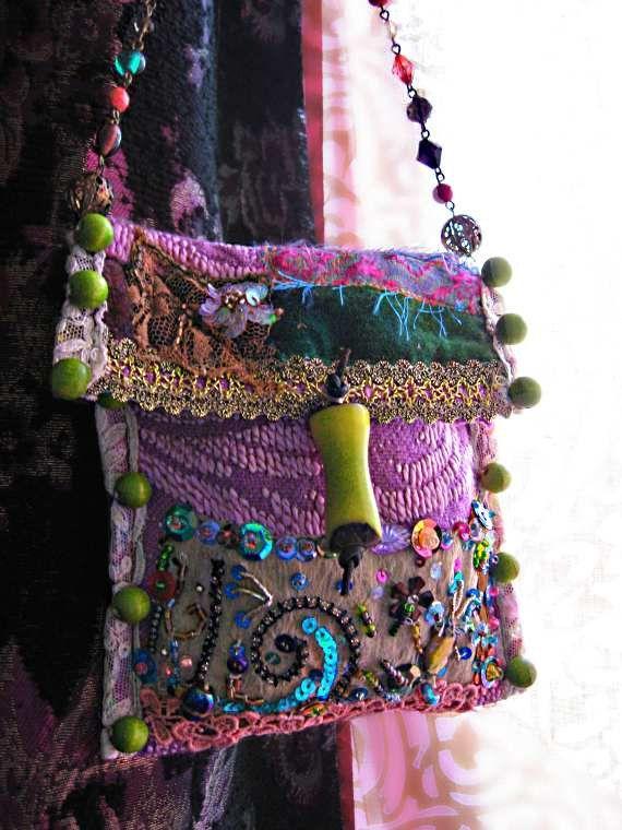 SALE  Little Woven Handbag Purse Beaded Purple by AllThingsPretty, $95.00 - Wristlets?