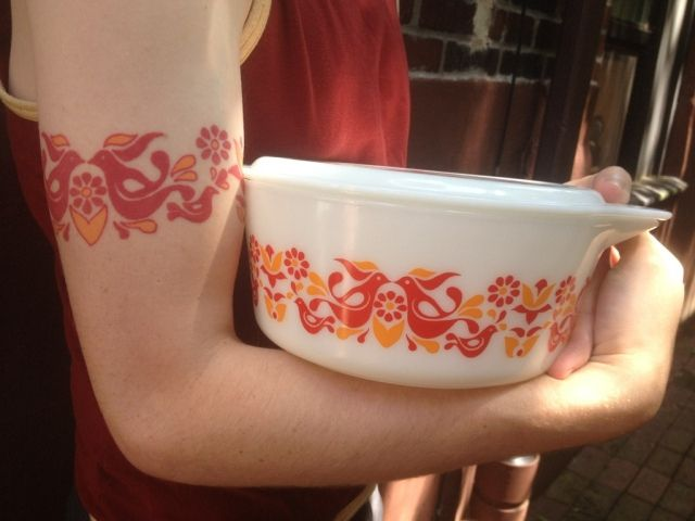 In my mind, he got this in dedication of his grandmother whom he was very close with, but who died. I imagine she used this Pyrex dish for every family function. Maybe??