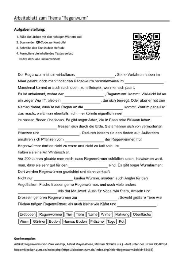 arbeitsblatt mit l ckentext zum thema regenwurm unterricht schule regenwurm. Black Bedroom Furniture Sets. Home Design Ideas