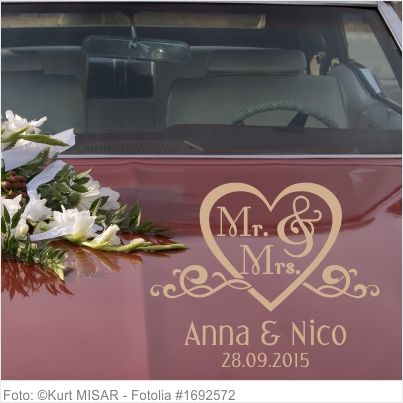 Autoaufkleber Hochzeit - Herz mit Mr. and Mrs.