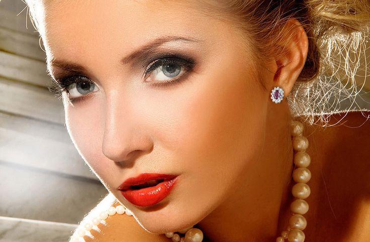 Kolczyki z białego złota, diamenty i rubiny - Biżuteria srebrna dla każdego tania w sklepie internetowym Silvea