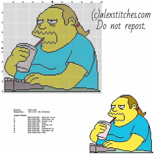 Comic Book Guy The Simpsons cartoon character free cross stitch pattern