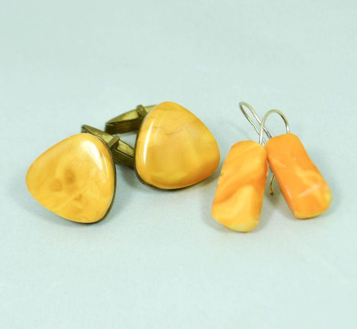 Aantal natuurlijke Baltisch amber zilveren oorbellen en paar Manchetknopen natuurlijke butterscotch ei dooier amber  EUR 1.00  Meer informatie