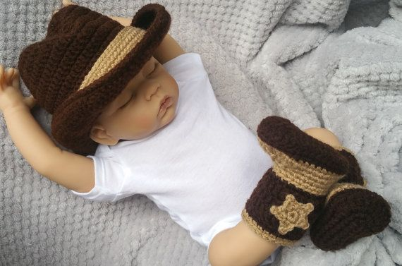 Your baby will look adorable in this custom made cowboy outfit. This crocheted hat and boots set is made from soft acrylic yarn and will be a keepsake