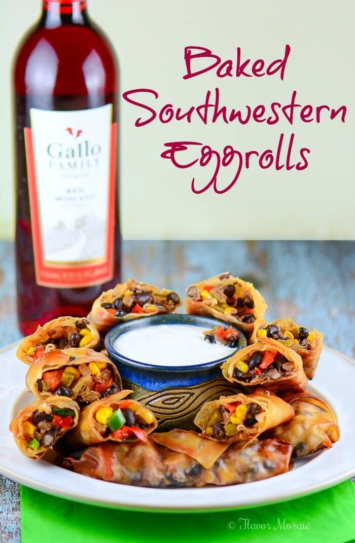 Baked Southwestern Eggrolls, with a filling of chicken, black beans, corn, green onions, cilantro, jalapeños and bell peppers wrapped in a crispy wonton.
