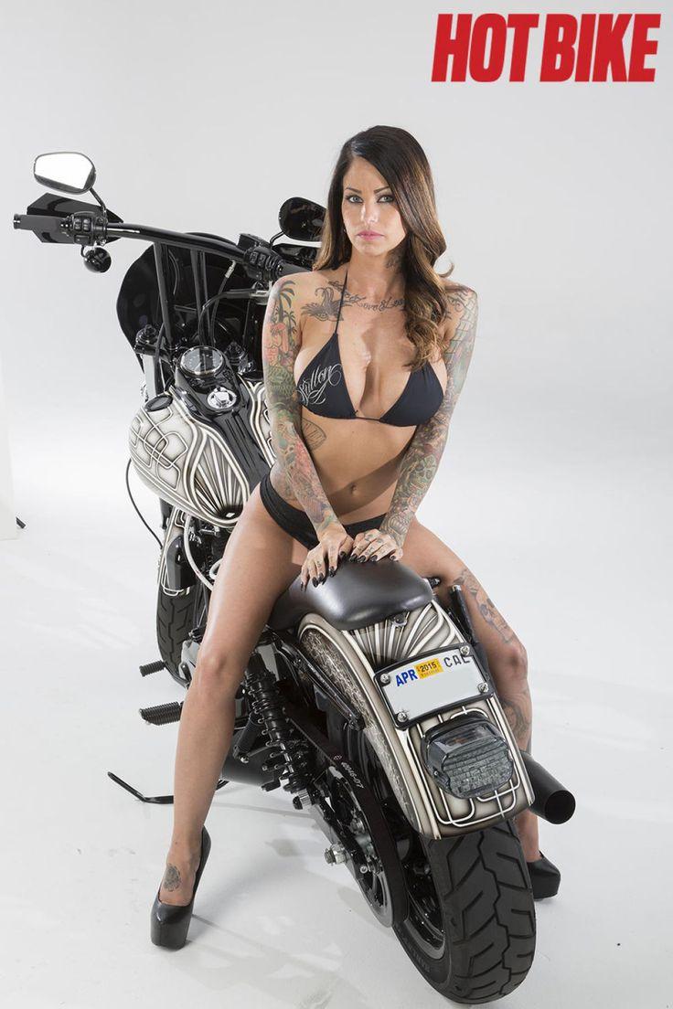 Hot Bike Girls Model Heather with a custom Harley-Davidson Dyna