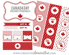 On the blog: Free Canada Day party printables. Red and white Canada Day cupcake toppers, straw flags, bottle wrappers, tent cards, tags, etc! Modern design with triangles and maple leaves. #HappyCanadaDay www.creativeclementine.com