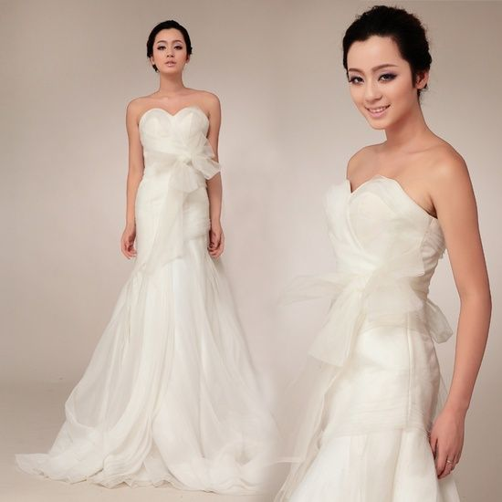 Strapless Trumpet/Mermaid fashionable bridal gown