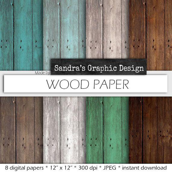 "Wood digital paper: ""WOOD DIGITAL PAPER"" with rustic wood texture, distressed wood, in white, brown, grey, digital wood background (406)"