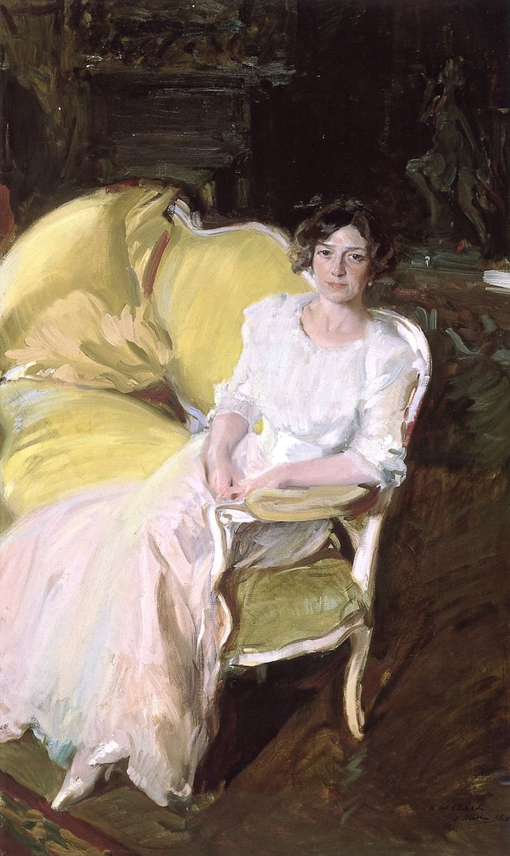 The Athenaeum - Clotilde Sitting on the Sofa (Joaquin Sorolla y Bastida - )