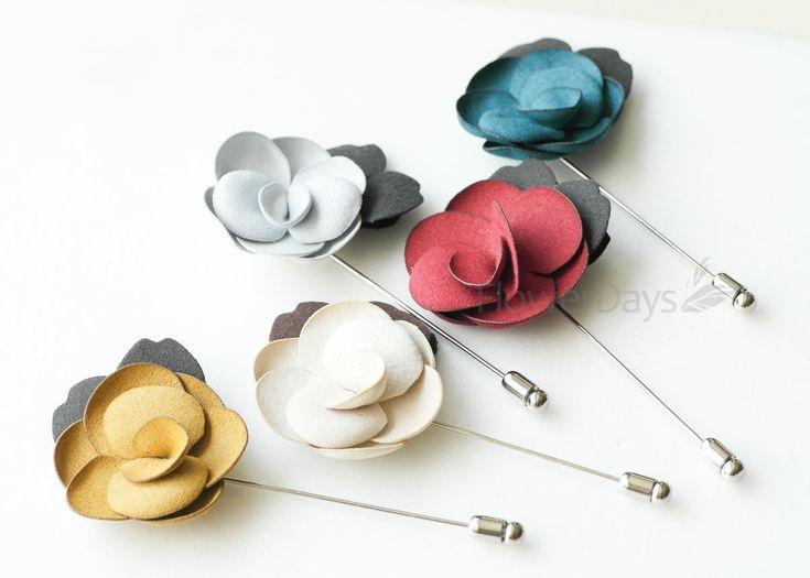 Suede Blossom MEN'S FLOWER Boutonniere / Buttonhole For Wedding,LAPEL PIN