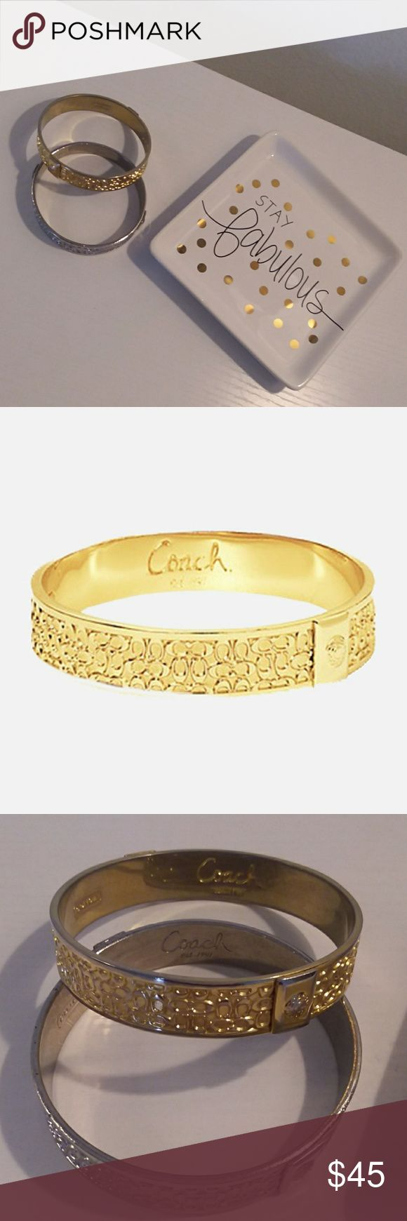 Coach Bracelets Silver and Gold bracelet set the words coach are located on the inside of the bracelets Coach Jewelry Bracelets