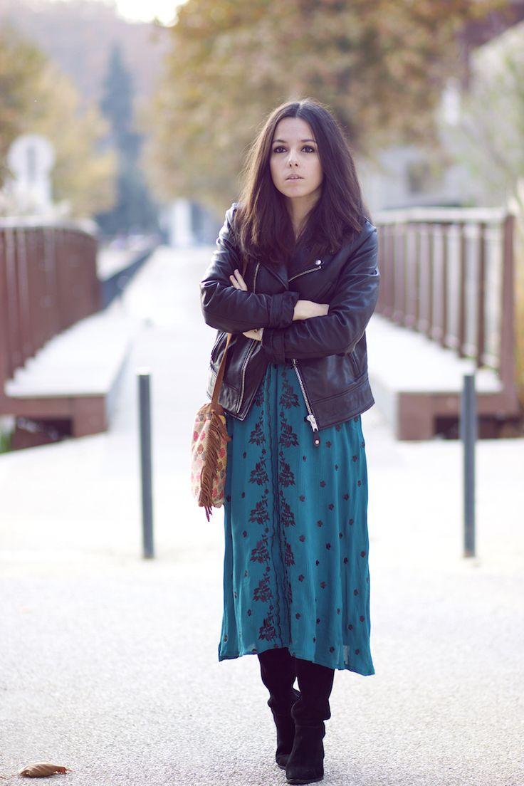 Perfecto schott Robe bohème verte Shein Cuissardes daim H&M Sac HIPANEMA