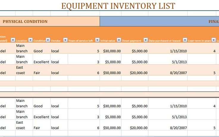 Equipment Material Stock inventory Template Excel | ExcelTemp