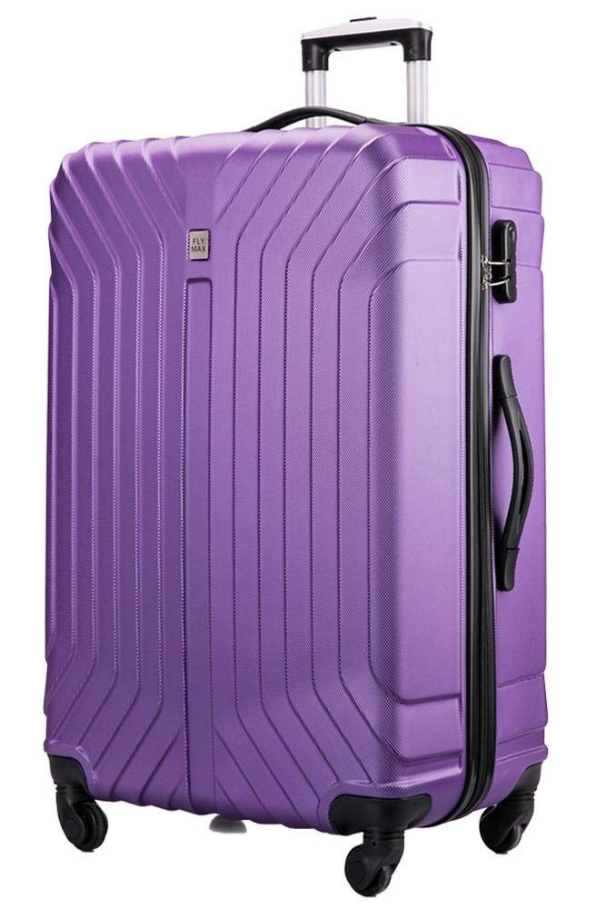 FLYMAX 24 Medium Super Lightweight ABS Hard Shell Travel Hold Check in Luggage Suitcase with 4 Wheels Trolley Bag