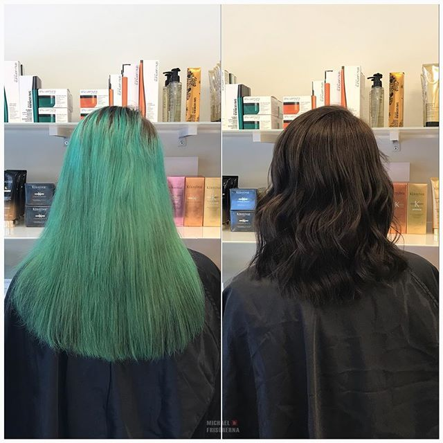 Denna kund var trött på sin extrema hårfärg, så vi gjorde en naturlig mörk färg på henne istället. Vad vill du göra vid ditt nästa frisörbesök? 😍 #michaelofrisorerna #welovemichaelofrisorerna #hairpassion #olaplex #fusiodose #hairgoals #ombre