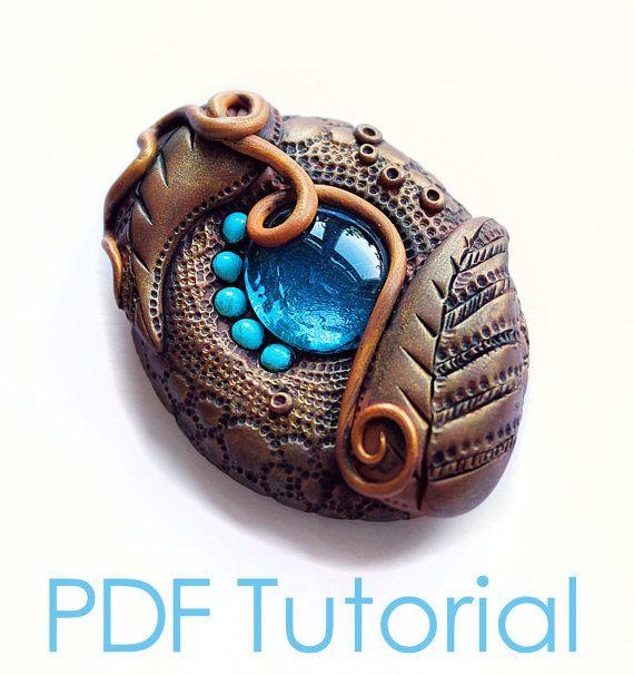 Organic Polymer clay Brooch  PDF tutorial  by amandarinduck, £9.00