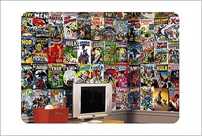 Marvel comic book chair rail prepasted wall mural for for Comic book mural