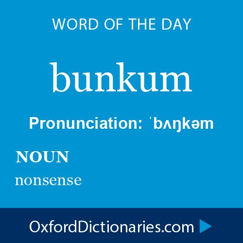 bunkum (noun): nonsense. Word of the Day for 9 January 2015 #WOTD #WordoftheDay #bunkum