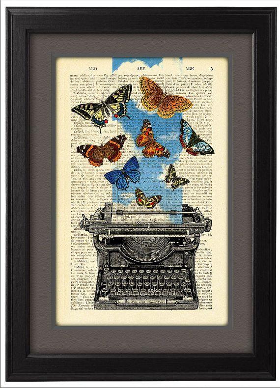 Schrijfmachine illustratie afdrukken, de vlinders en de schrijfmachine poster, woordenboek boek pagina