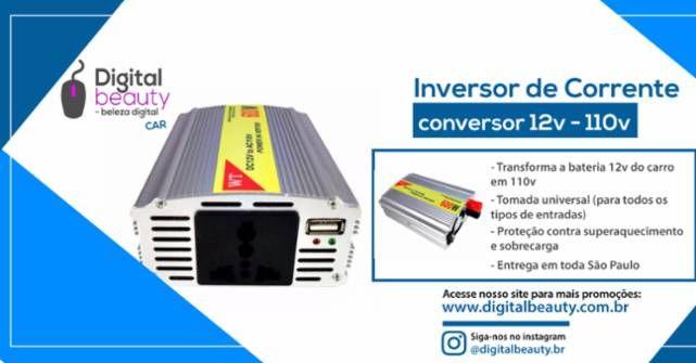 Inversor de Corrente - Conversor 12v ~110v  Caracteristicas do Produto: O inversor de corrente é um dispositivo de tensão AC que converte 12V DC para 110V AC, utilizando o mais moderno circuito de ondas senoidais. Todo o processo é executado por uma CPU inteligente. Pode ser utilizado em veículo para fornecer energia ao seu notebook, câmera digital, Celular, Tablet, iPad, carregador de pilha ou bateria e etc. É também apropriado para bairros onde o fornecimento de energia elétrica é instável…
