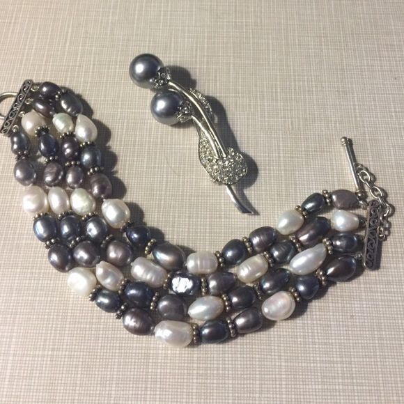 New real silver/pearl bracelet hand knotted 925 stamped stunning New genuine bracelet toggle clasp with 925 silver beads interlocking fresh water pearls black and white 7'5 inches Free brooch with purchase NWOT from QVC qvc Jewelry Bracelets