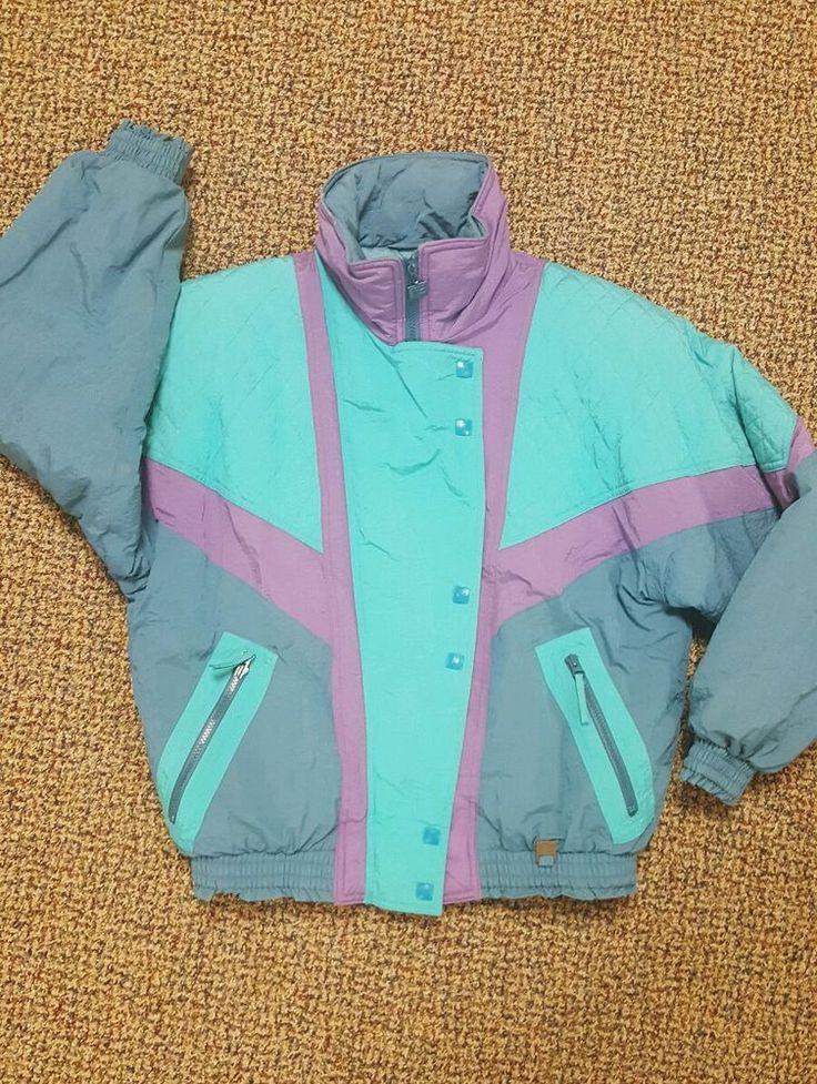 VTG Helly Hansen HH Europa mens Ski Jacket womens L  80s 90s snowboard neon #HellyHansenHH #BasicCoat