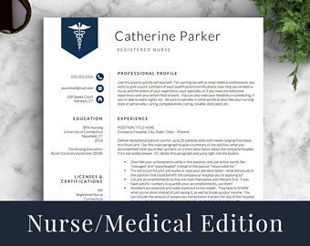 Doctor Resume Template for Word & Pages, Nurse Resume Template | Nurse CV Template | RN Resume, Medical Resume Template | Instant Download