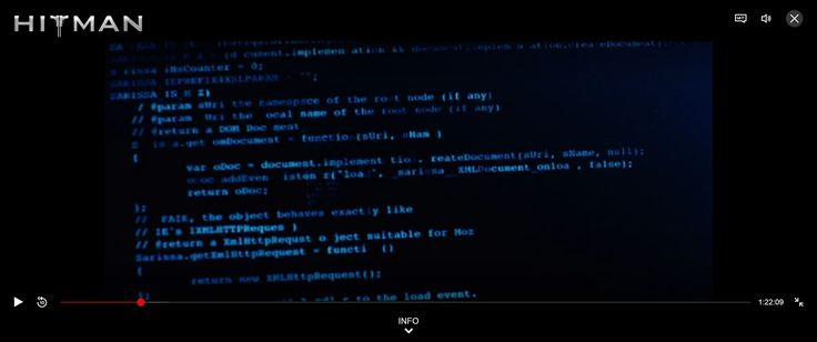 Hitman (2007), about 11min in. Code is from the Sarissa XML library, https://www.gnu.org/software/src-highlite/test.js.html. Does that mean the entire movie is now under GPL? : ))