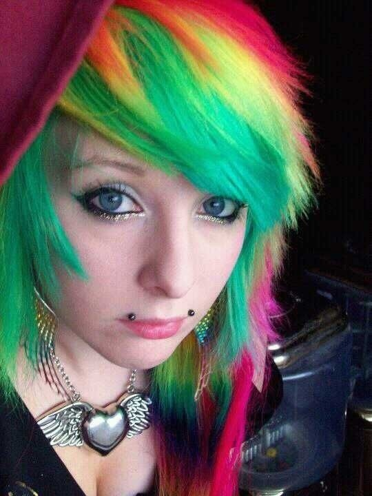 Green yellow and pink hair. -- So damn fab!