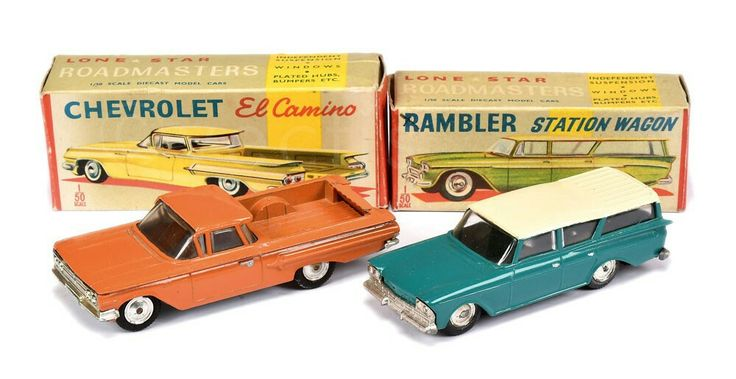 Lone Star (Roadmasters) Rambler Station Wagon - green body, cream roof and Chevrolet El Camino - orange