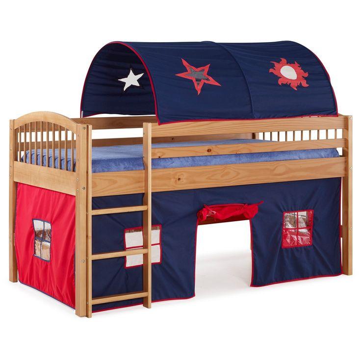 66 Junior Loft Bed Twin Hardwood Cinnamon (Red) - Alaterre Furniture