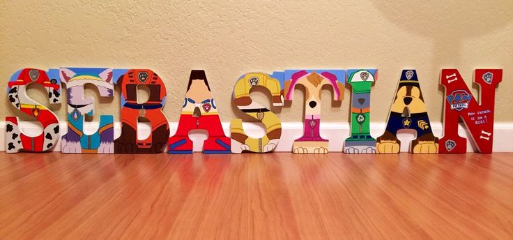 Paw Patrol letter art. Hand painted wood letters. Kids room/nursery decor. Home decor. Wall letters. Price listed is per letter! by ShellsDesignStudio on Etsy https://www.etsy.com/listing/241757744/paw-patrol-letter-art-hand-painted-wood