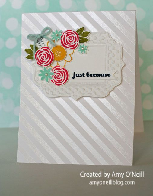 We love the adorable cluster of flowers on this clean and simple card. The flowers are from the Garden Party stamp set.