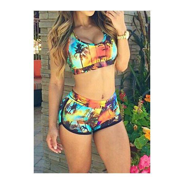 Rotita Two Piece Sleeveless Scoop Neck Printed Swimwear ($15) ❤ liked on Polyvore featuring swimwear, bikinis, swimsuits, bathing suits, bikini, outfits, multi color, swimsuits two piece, 2 piece bikini and bikini swimsuit