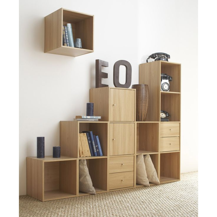 Etag re cube en bois l35cm personnalisable multikaz for Etagere murale bois brut