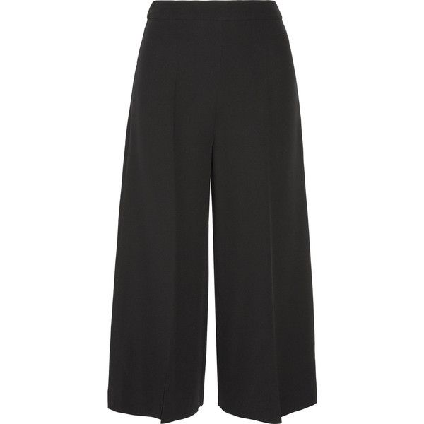 Valentino Cropped silk-crepe wide-leg pants ($960) ❤ liked on Polyvore featuring pants, capris, black, wide leg cropped pants, black crop pants, black cropped trousers, black pants and mid calf pants