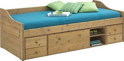 Letto singolo anche cameretta bambini con contenitori in legno pino massiccio | mobili arredoline