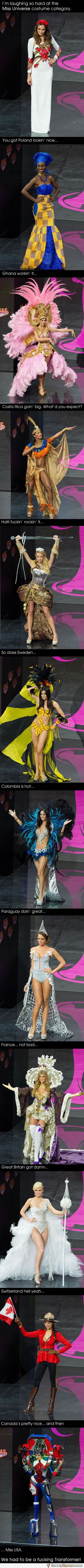 Miss USA at Miss Universe costume category, funny picture.