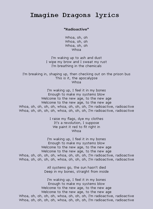 Lyrics to Radioactive by Imagine Dragons. Courtesy of ...