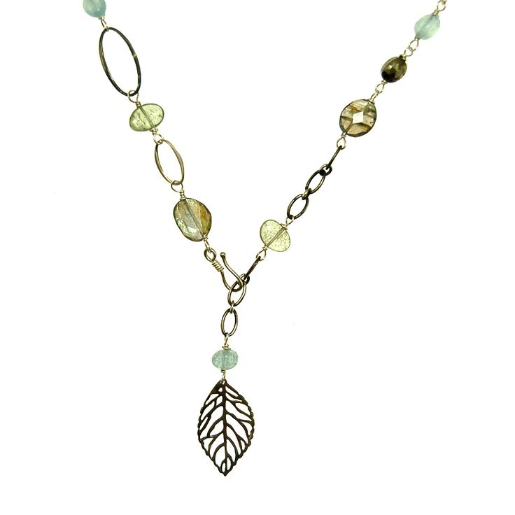 Labradorite and Moss Aquamarine Chain Necklace (N1931R) $150