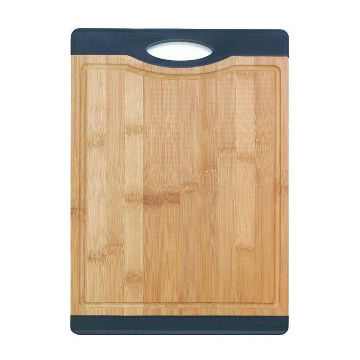 Bamboo Cutting Board W Handle Red Rubber The beauty of bamboo and the no-nonsense grip of rubber will put you in food prep bliss. #mycustommade