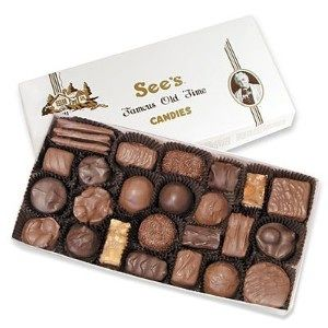 Sees candies. Assorted chocolates and caramels. No nuts or coconut. Check!