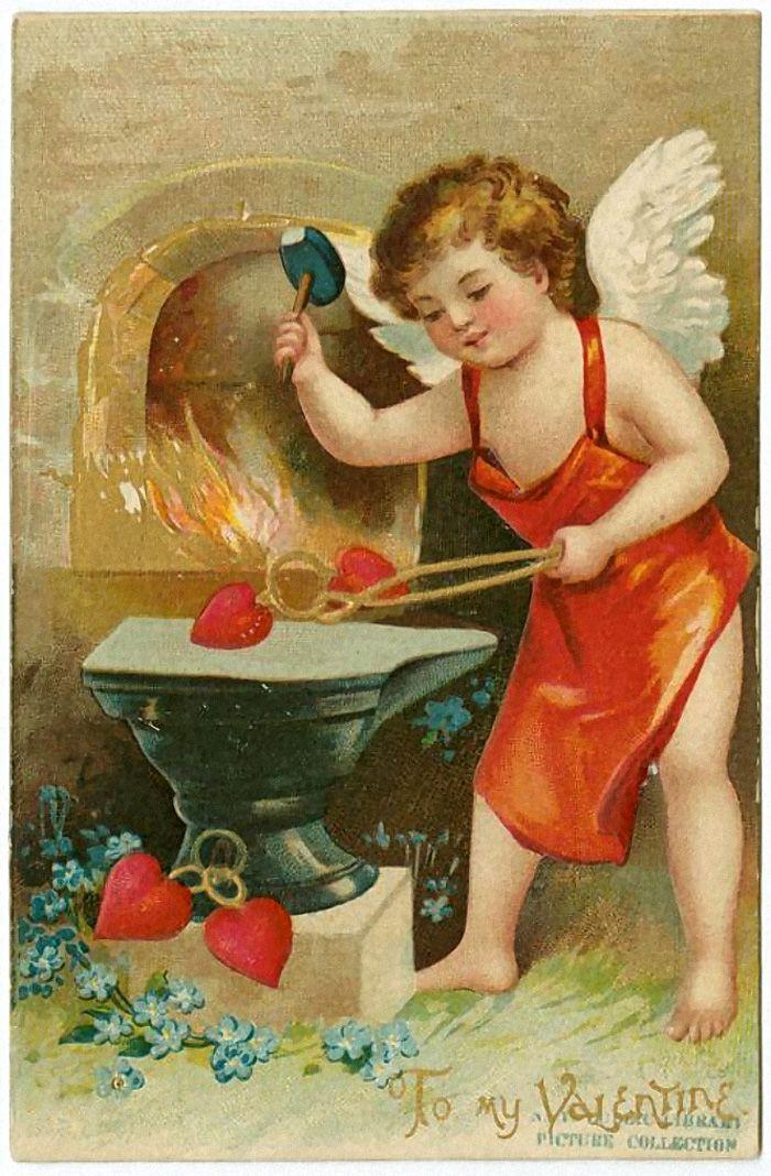 Ретро открытка любовь, открытка марта