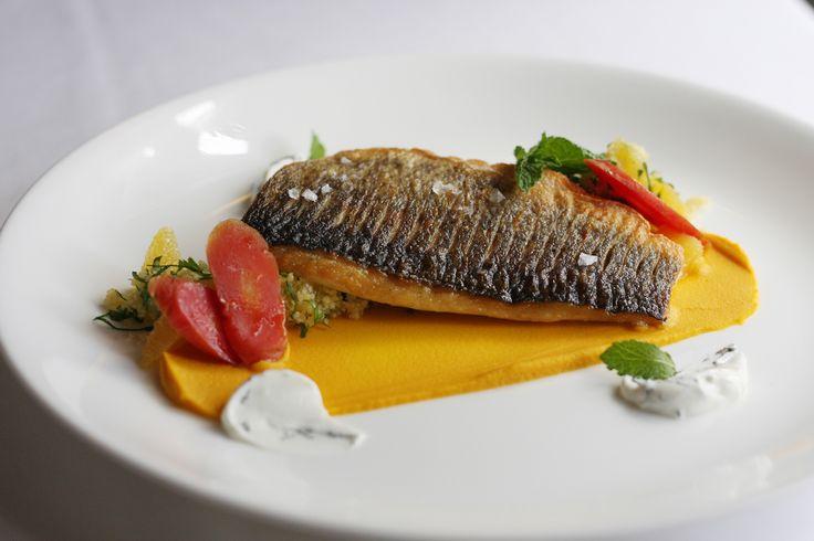 Mediterranean Sea Bass - orange & parsley tabbouleh, sweet carrot hummus, minted yogurt