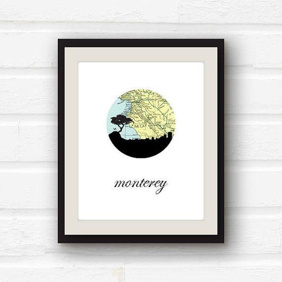 Monterey Bay Monterey CA Monterey map by PaperFinchDesign, $10.00