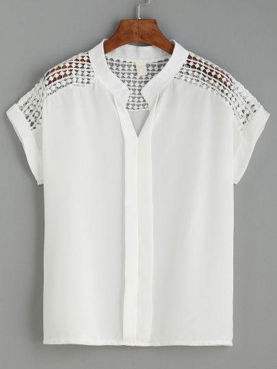 Blusa crochet punto manga corta-Sheinside