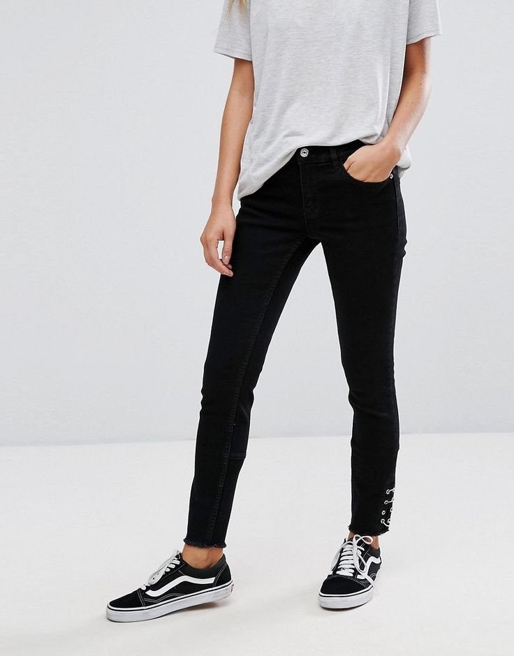 Get this Pimkie's skinny jeans now! Click for more details. Worldwide shipping. Pimkie Pierced Skinny Jeans - Black: Skinny jeans by Pimkie, Stretch denim, Zip fly, Functional pockets, Pierced cuffs, Skinny fit - cut very closely to the body, Machine wash, 68% Cotton, 27% Polyester, 3% Viscose, 2% Elastane, Our model wears a UK 8/EU 36/US 4 and is 168cm/5'6 tall. In 1971, French label Pimkie brought three textiles specialists together to create empowering collections that encourage women to…