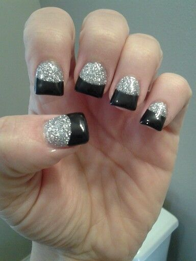 Black tips with silver glitter solar nails ♥♥♥♥